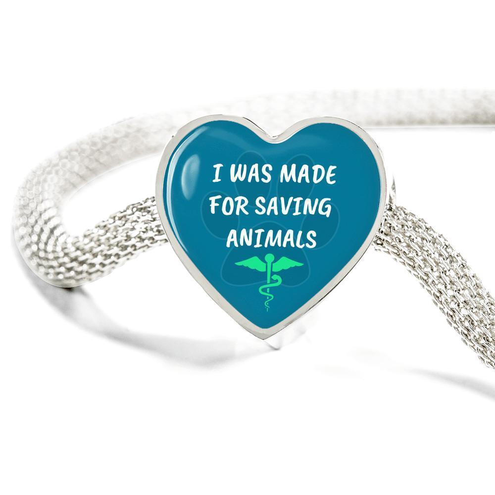 Veterinary Jewelry Gift Heart Charm Luxury Steel Bracelet - I was made for saving animals-Luxury Steel Bracelet-I love Veterinary