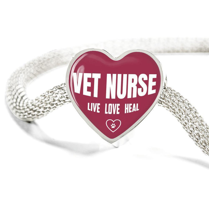 Veterinary Nurse Jewelry Gift Heart Charm Luxury Steel Bracelet - Vet Nurse Live, Love, Heal-Luxury Steel Bracelet-I love Veterinary