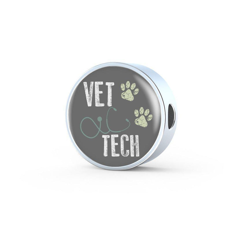 Veterinary Technican Jewelry Gift Circle Charm Luxury Steel Bracelet - Vet Tech-Luxury Steel Bracelet-I love Veterinary