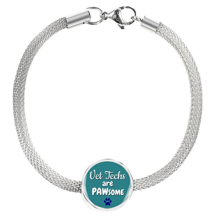 Veterinary Technician Jewelry Gift Circle Charm Luxury Steel Bracelet - Vet Techs are PAWsome-Luxury Steel Bracelet-I love Veterinary