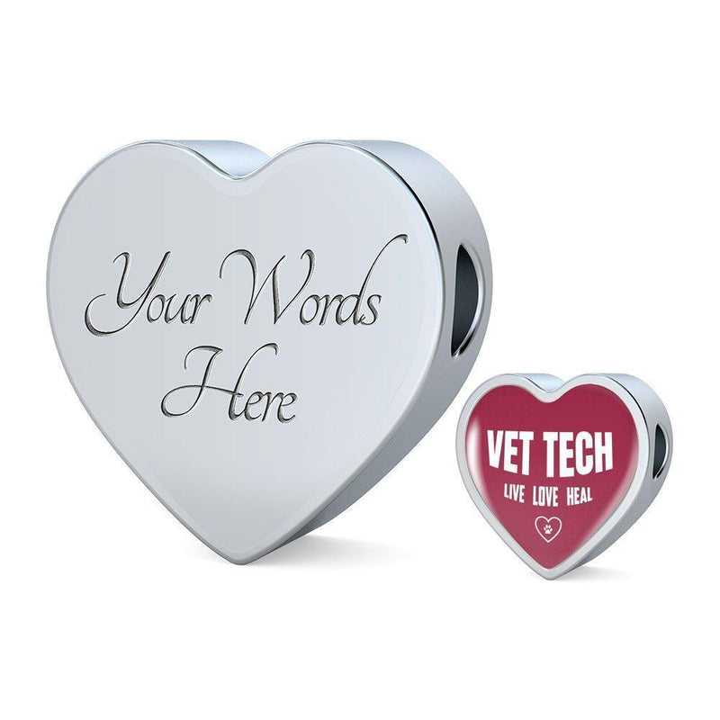 Veterinary Technician Jewelry Gift Heart Charm Luxury Steel Bracelet - Vet Tech Live, Love, Heal-Luxury Steel Bracelet-I love Veterinary