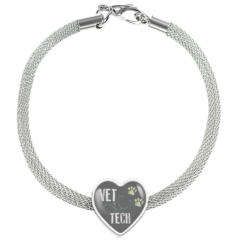 Veterinary Technician Jewelry Gift Heart Charm Luxury Steel Bracelet - Vet Tech-Luxury Steel Bracelet-I love Veterinary