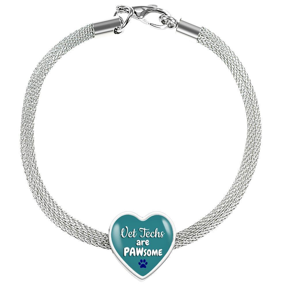 Veterinary Technician Jewelry Gift Heart Charm Luxury Steel Bracelet - Vet Techs are PAWsome-Luxury Steel Bracelet-I love Veterinary