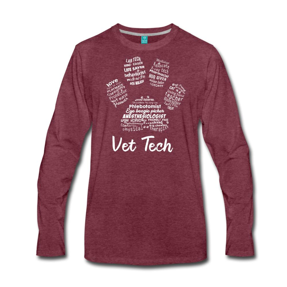 Vet Tech Pawprint Unisex Premium Long Sleeve T-Shirt-Men's Premium Long Sleeve T-Shirt-I love Veterinary