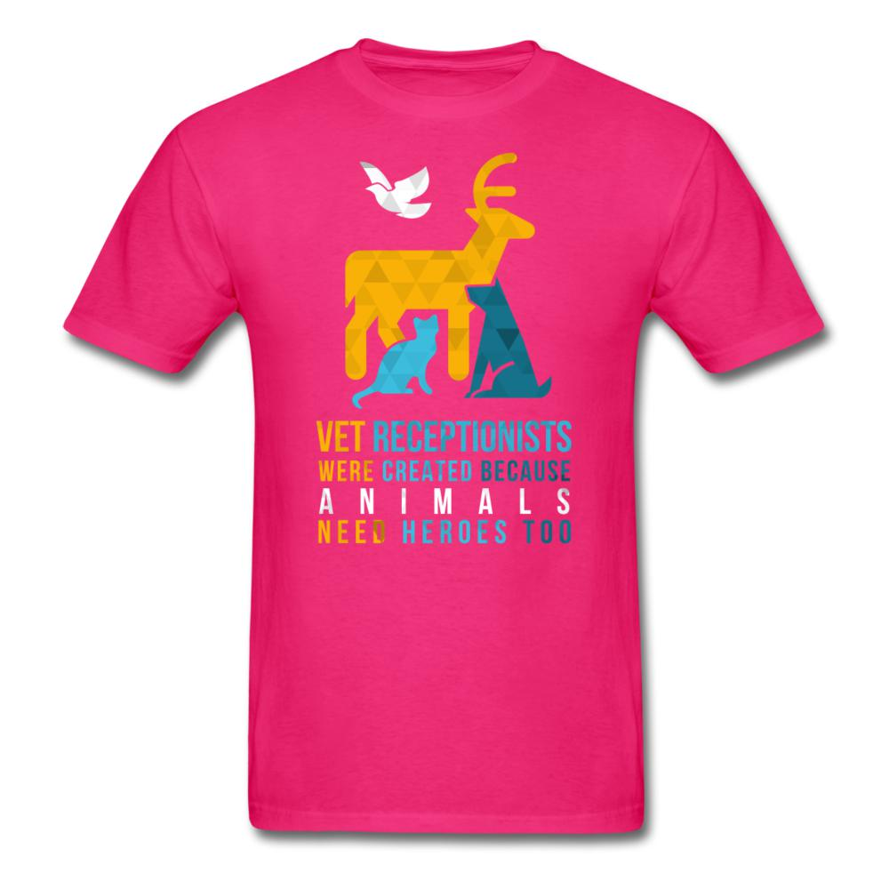 Vet receptionists were created because animals need heroes too Unisex T-shirt-Unisex Classic T-Shirt | Fruit of the Loom 3930-I love Veterinary
