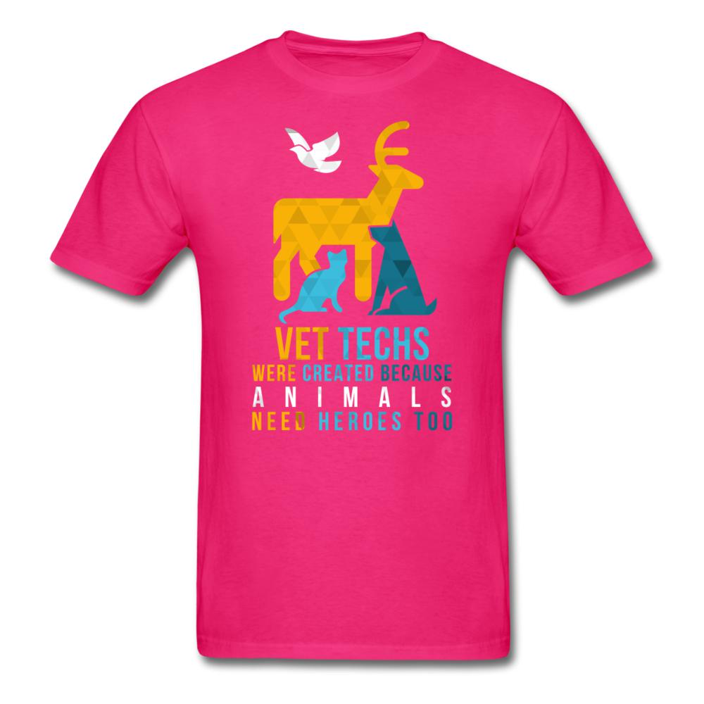 Vet Techs were created because animals need heroes too Unisex T-shirt-Unisex Classic T-Shirt | Fruit of the Loom 3930-I love Veterinary
