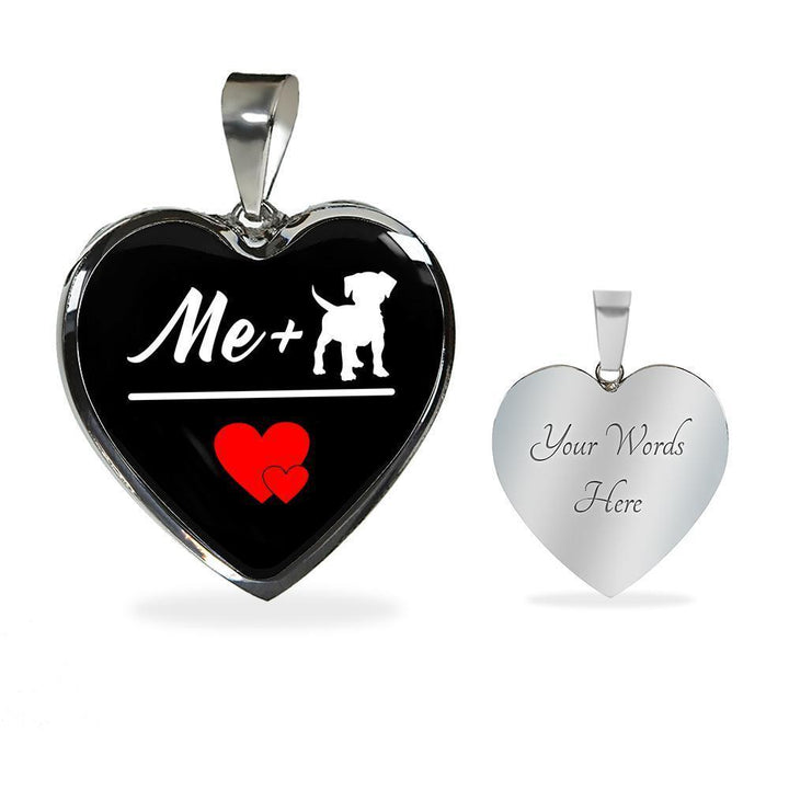 Dog Veterinarian Jewelry Gift Luxury Heart Necklace - Me + Dogs = Love-Necklace-I love Veterinary