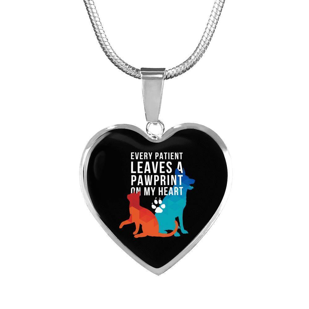 Every patient Leaves a Pawprint Luxury Heart Necklace-Necklace-I love Veterinary