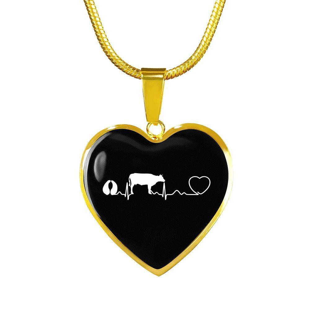 Large Animal Veterinarian Jewelry Gift Luxury Heart Necklace - Cow pulse-Necklace-I love Veterinary