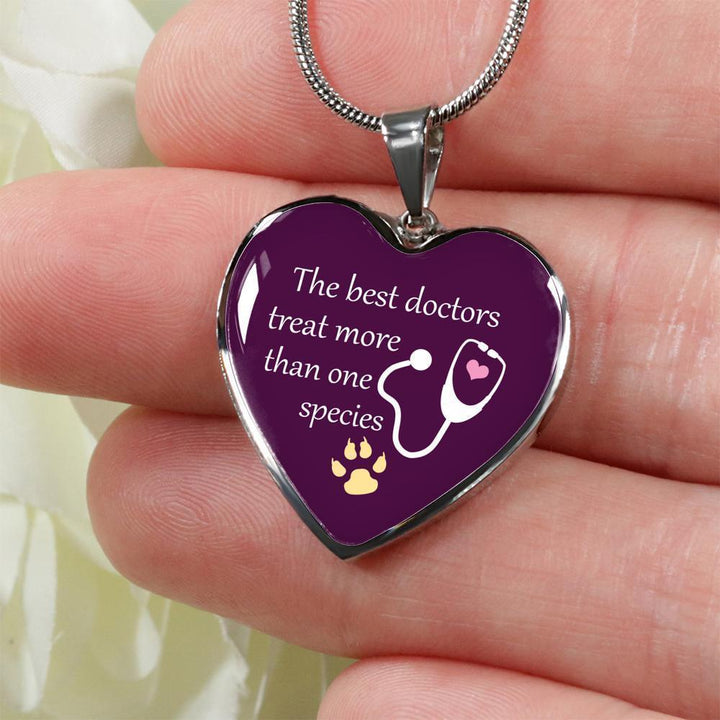 Veterinarian Jewelry Gift Luxury Heart Necklace - The best doctors treat more than one species-Necklace-I love Veterinary