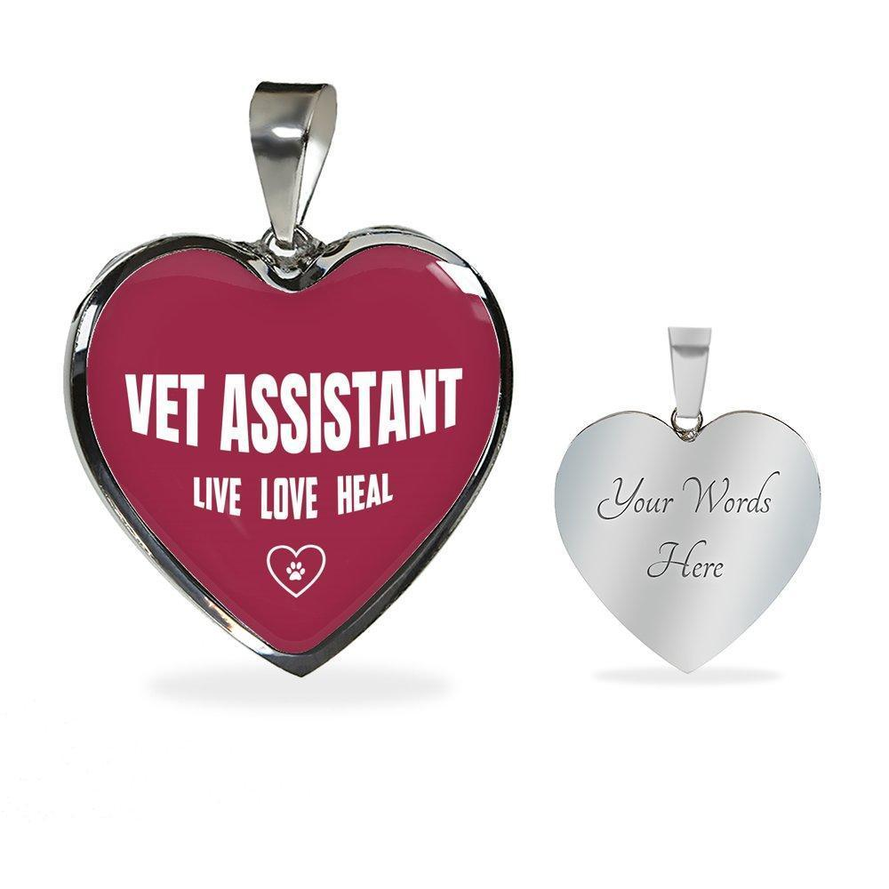 Veterinary Assistant Jewelry Gift Luxury Heart Necklace - Vet Assistant Live, Love, Heal-Necklace-I love Veterinary