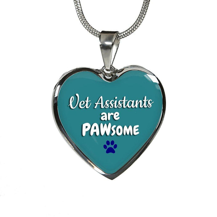 Veterinary Assistants Jewelry Gift Luxury Heart Necklace - Vet Assistants are PAWsome-Necklace-I love Veterinary