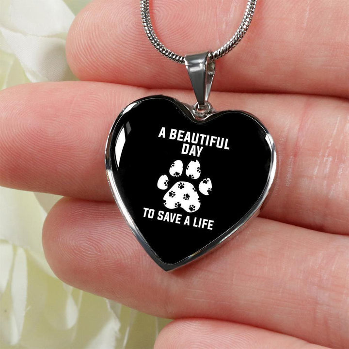 Veterinary Jewelry Gift Luxury Heart Necklace - A beautiful day to save a life-Necklace-I love Veterinary