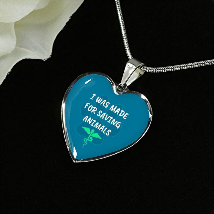 Veterinary Jewelry Gift Luxury Heart Necklace - I was made for saving animals-Necklace-I love Veterinary