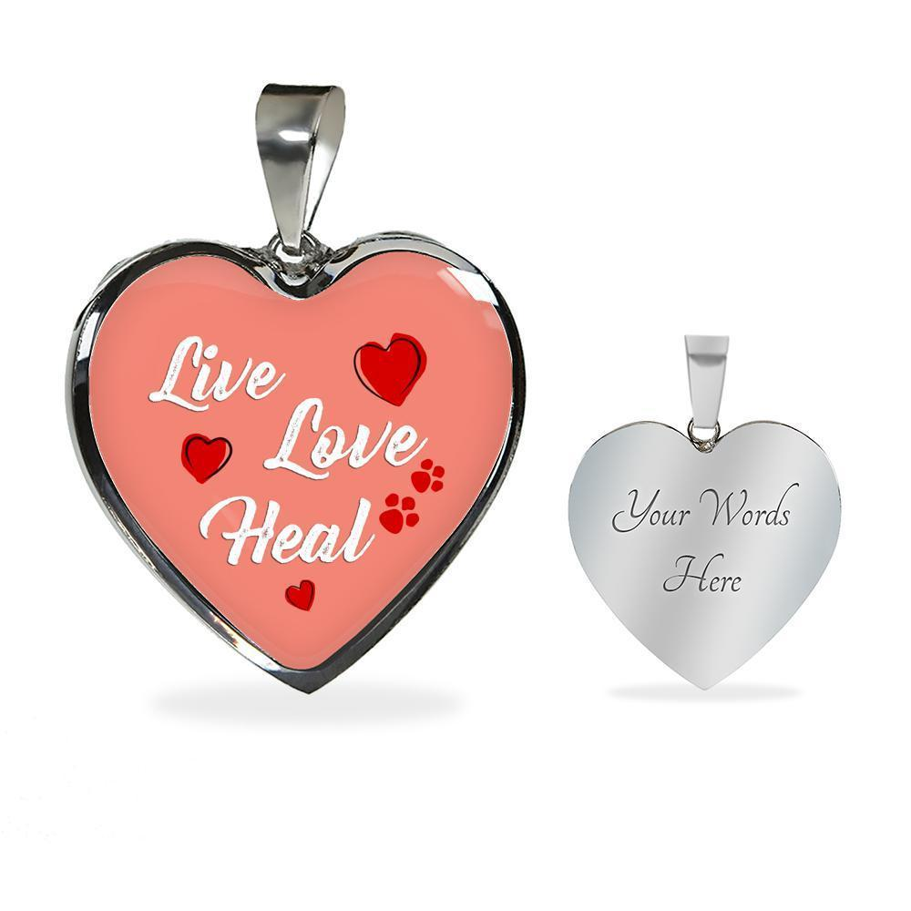 Veterinary Jewelry Gift Luxury Heart Necklace - Live, love, heal-Necklace-I love Veterinary