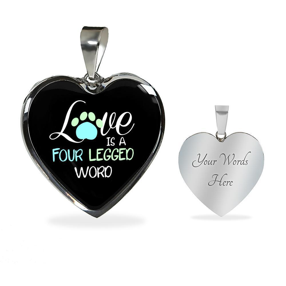 Veterinary Jewelry Gift Luxury Heart Necklace - Love is four legged word-Necklace-I love Veterinary