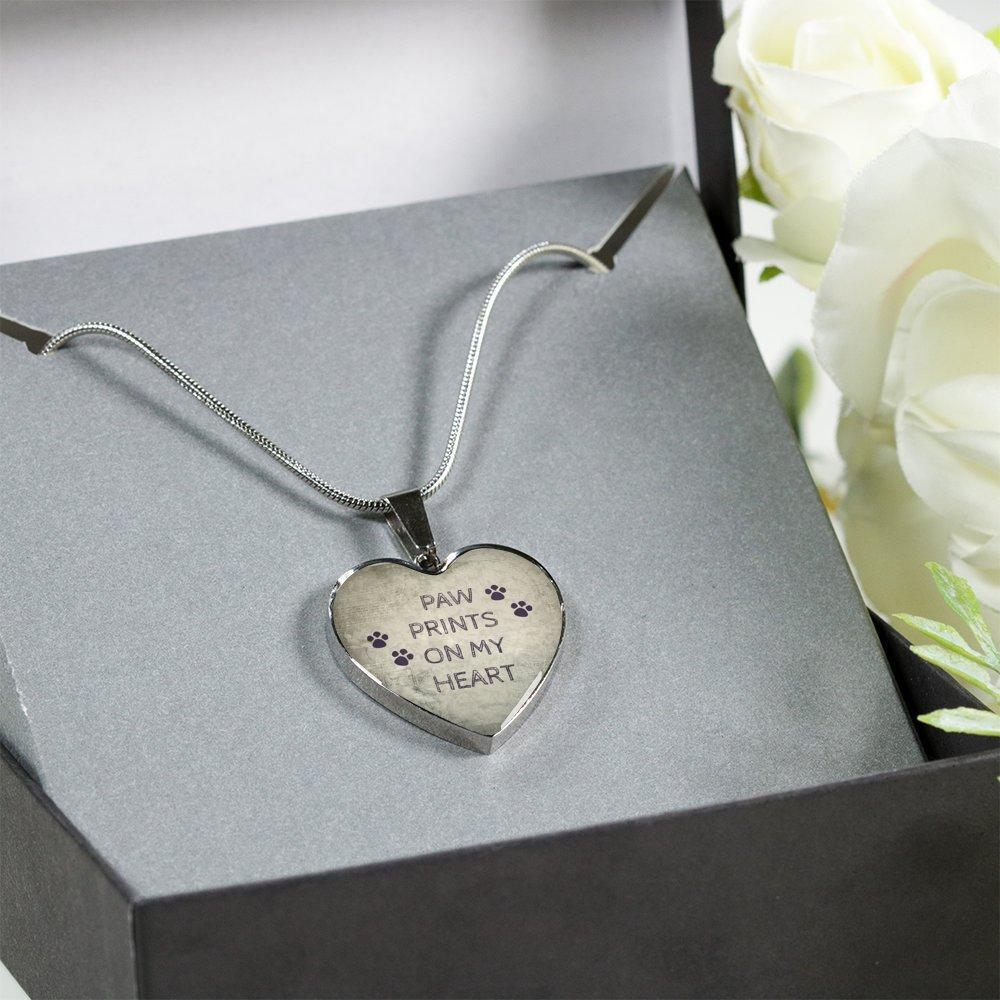 Veterinary Jewelry Gift Luxury Heart Necklace - Paw prints on my heart-Necklace-I love Veterinary