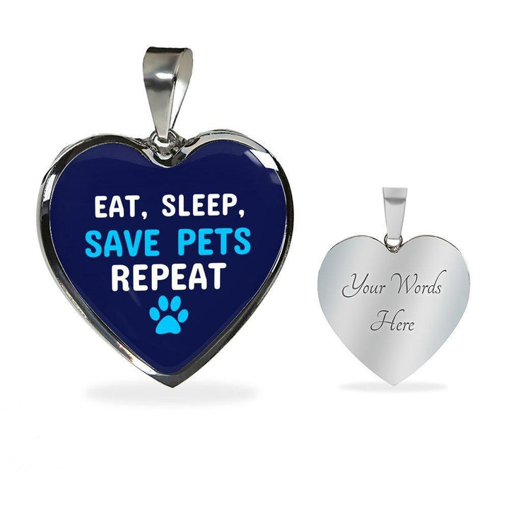 Veterinary Jewelry Gift Luxury Heart Necklace - Sleep, eat, save pets repeat-Necklace-I love Veterinary