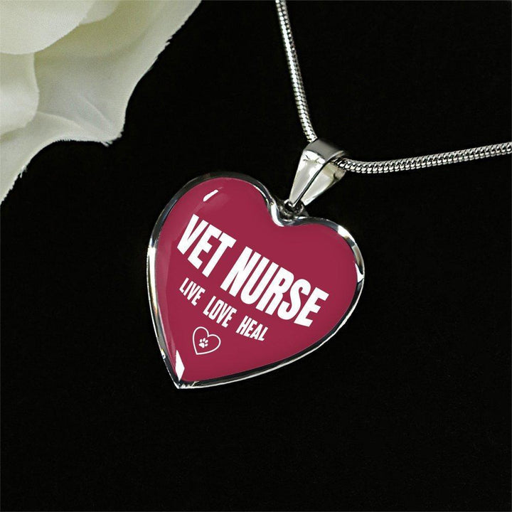 Veterinary Nurse Jewelry Gift Luxury Heart Necklace - Vet Nurse Live, Love, Heal-Necklace-I love Veterinary