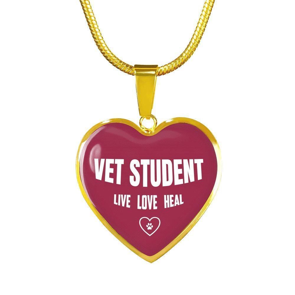Veterinary Student Jewelry Gift Luxury Heart Necklace - Vet Student Live, Love, Heal-Necklace-I love Veterinary