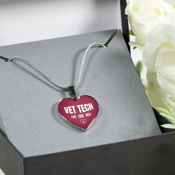 Veterinary Technician Jewelry Gift Luxury Heart Necklace - Vet Tech Live, Love, Heal-Necklace-I love Veterinary