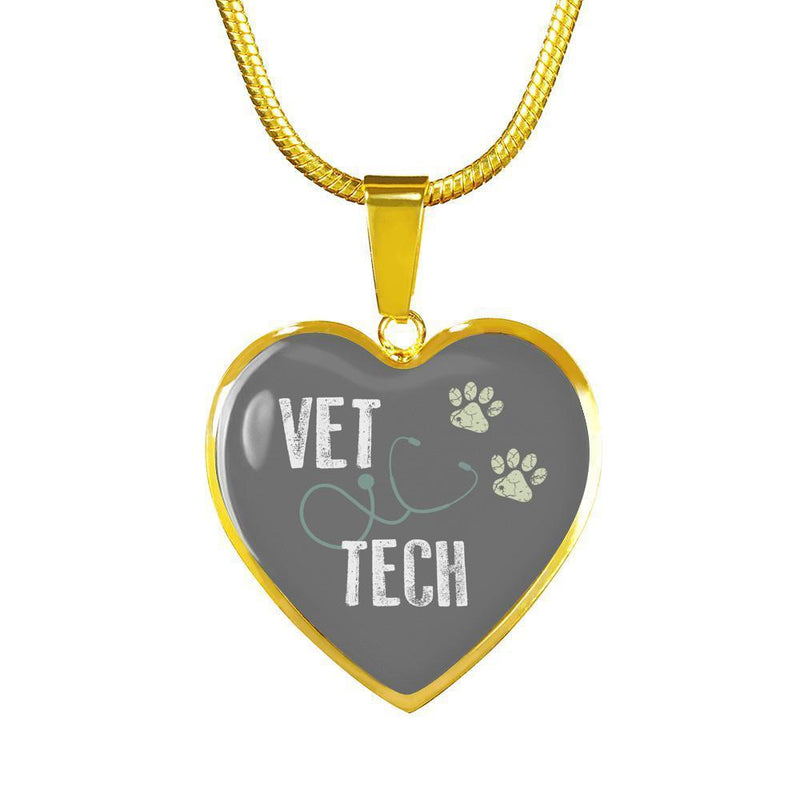 Veterinary Technician Jewelry Gift Luxury Heart Necklace - Vet Tech-Necklace-I love Veterinary