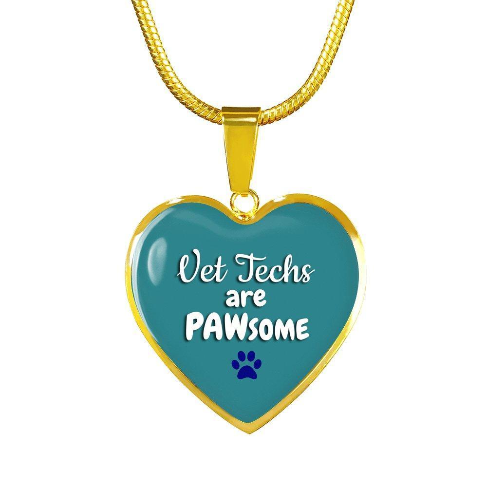 Veterinary Technician Jewelry Gift Luxury Heart Necklace - Vet Techs are PAWsome-Necklace-I love Veterinary