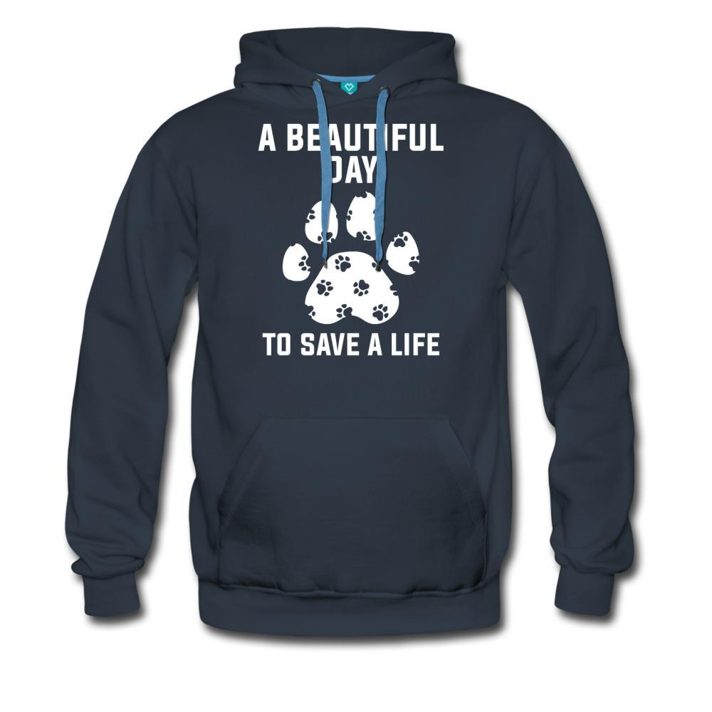 NOMV A beautiful day to save a life Men's Premium Hoodie-NOMV Men's Hoodie-I love Veterinary