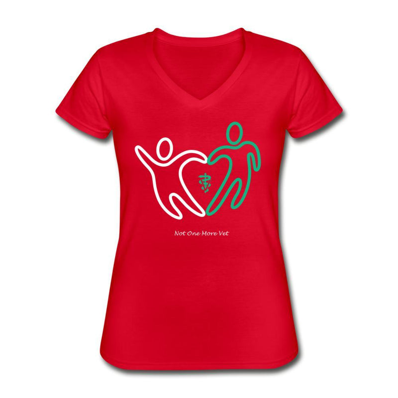 NOMV People make a heart Women's V-Neck T-Shirt-NOMV V-neck-I love Veterinary