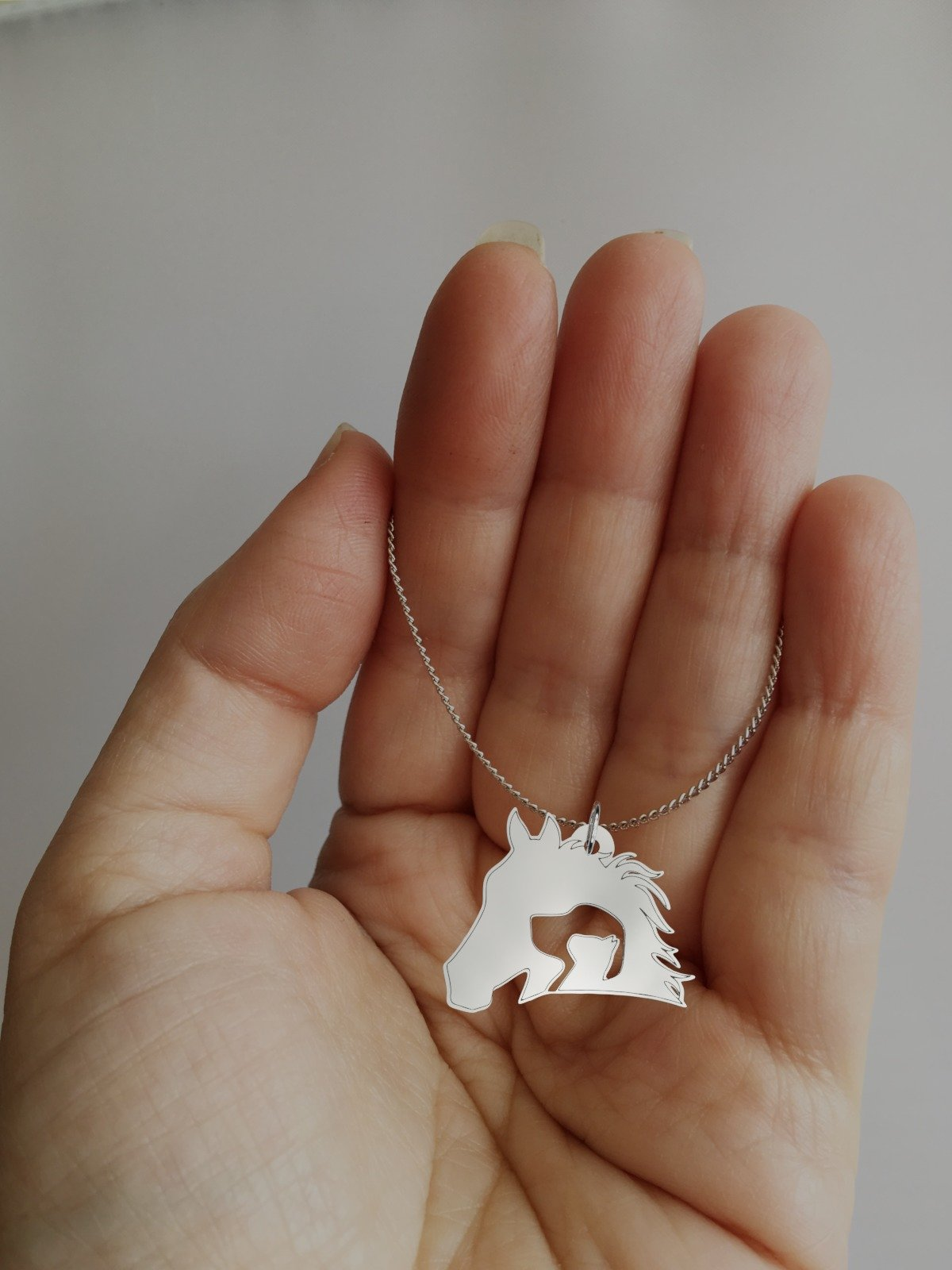 Horse, Dog, Cat Inception Silhouette Silver Necklace-Silver Necklace-I love Veterinary