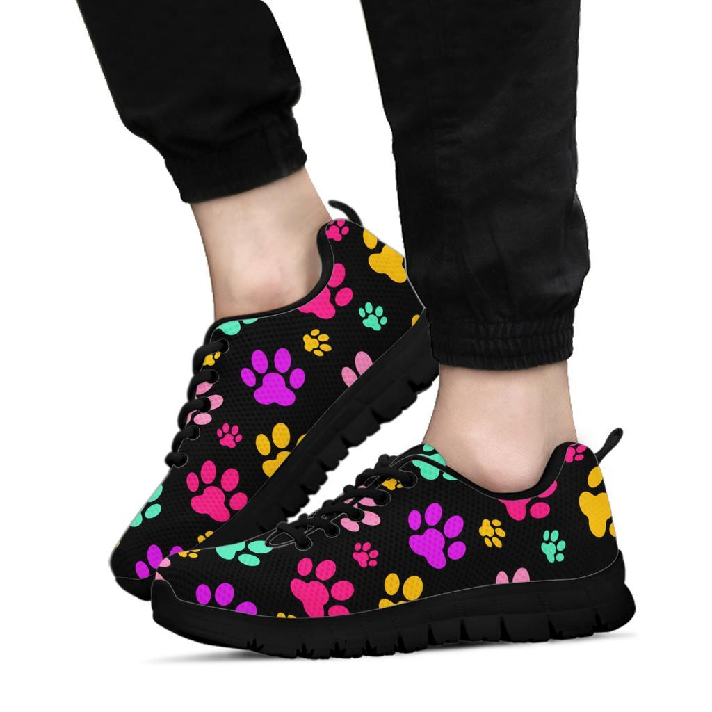 Rainbow Paw Prints - Women's Sneakers-Sneakers-I love Veterinary