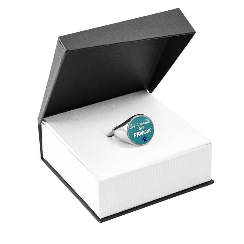 Veterinary Assistants Jewelry Gift Signet Ring - Vet Assistants are PAWsome-Ring-I love Veterinary