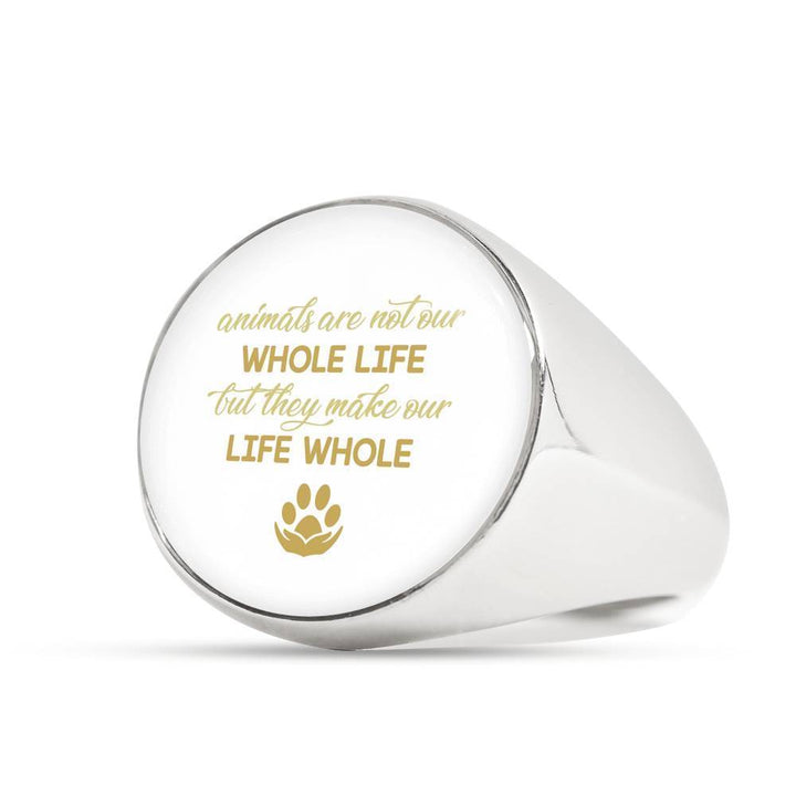 Veterinary Jewelry Gift Signet Ring - Animals are not our whole life, but they make our life whole-Ring-I love Veterinary