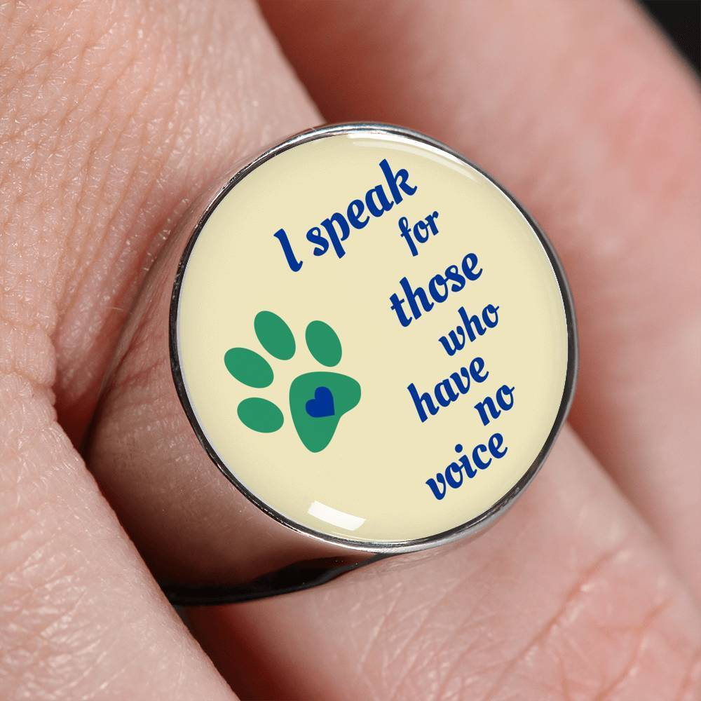 Veterinary Jewelry Gift Signet Ring - I speak for those who have no voice-Ring-I love Veterinary