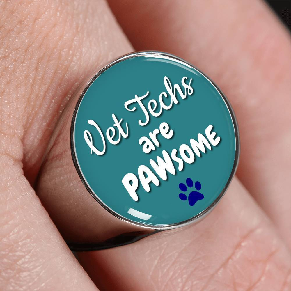 Veterinary Technician Jewelry Gift Signet Ring - Vet Techs are PAWsome-Ring-I love Veterinary