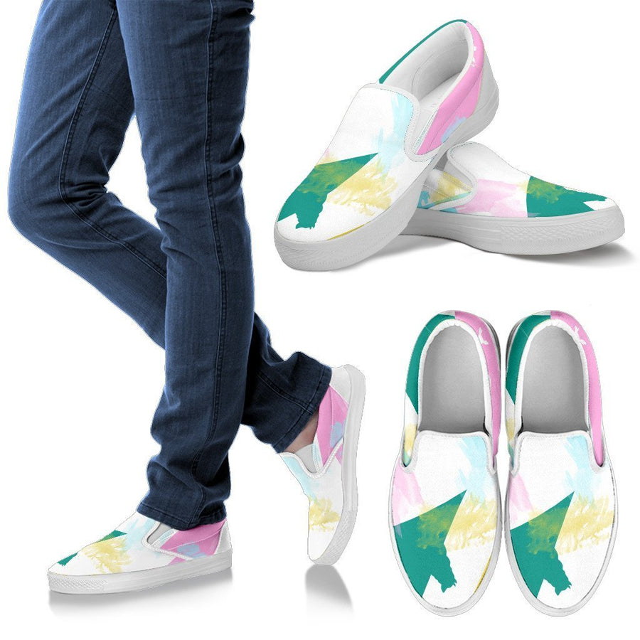 Abstract Animals Women's Slip Ons-slip ons-I love Veterinary