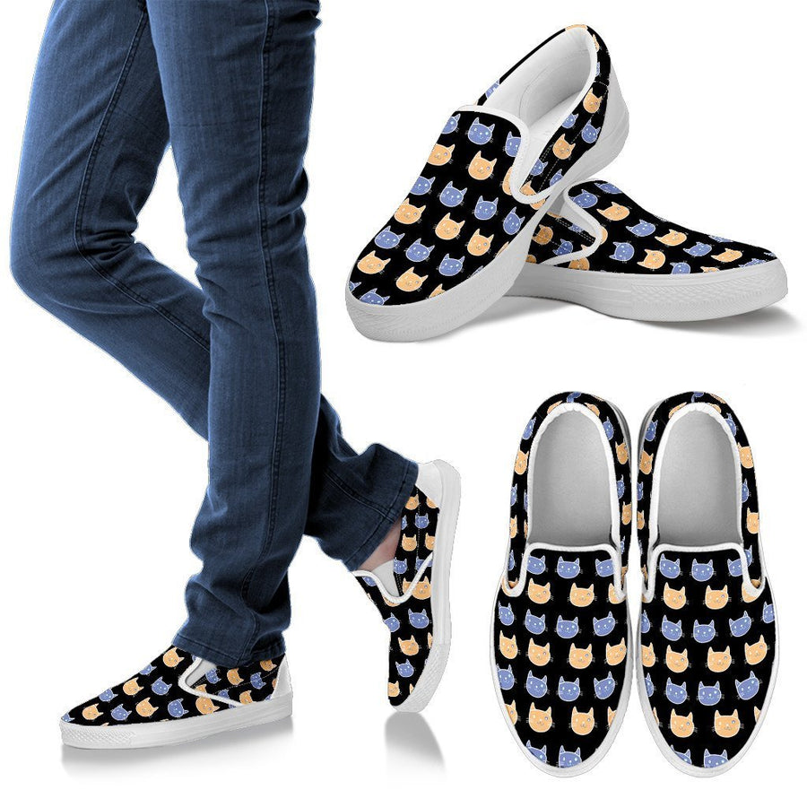 Cats Pattern Women's Slip Ons-slip ons-I love Veterinary