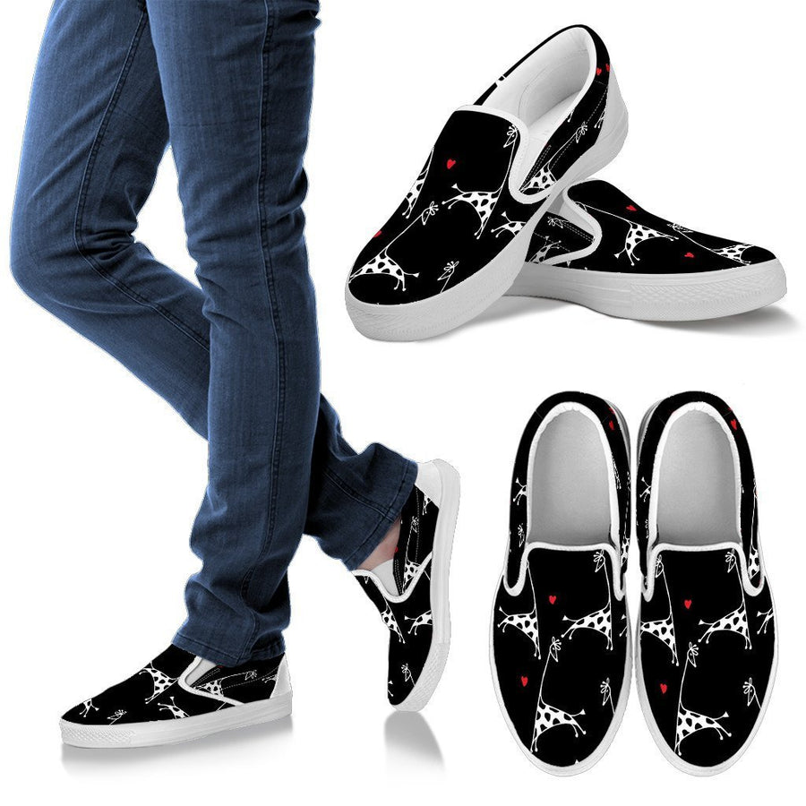 Giraffe lover Black Women's Slip Ons-slip ons-I love Veterinary