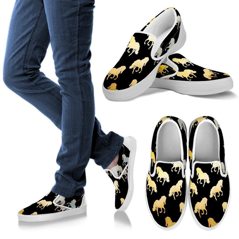 Golden Horses Women's Slip Ons-Slip Ons-I love Veterinary