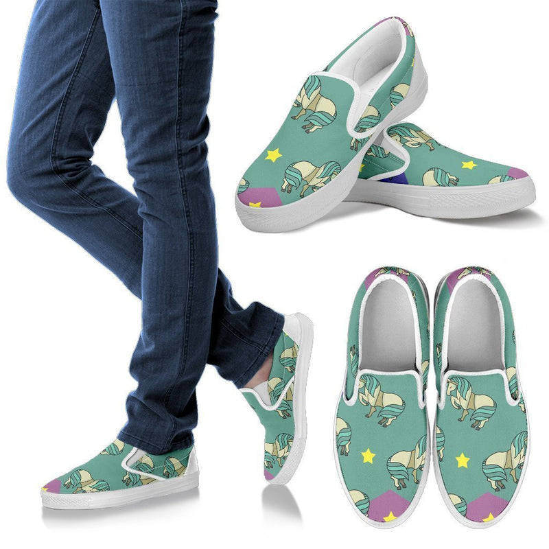Horses and stars Women's Slip Ons-Slip Ons-I love Veterinary