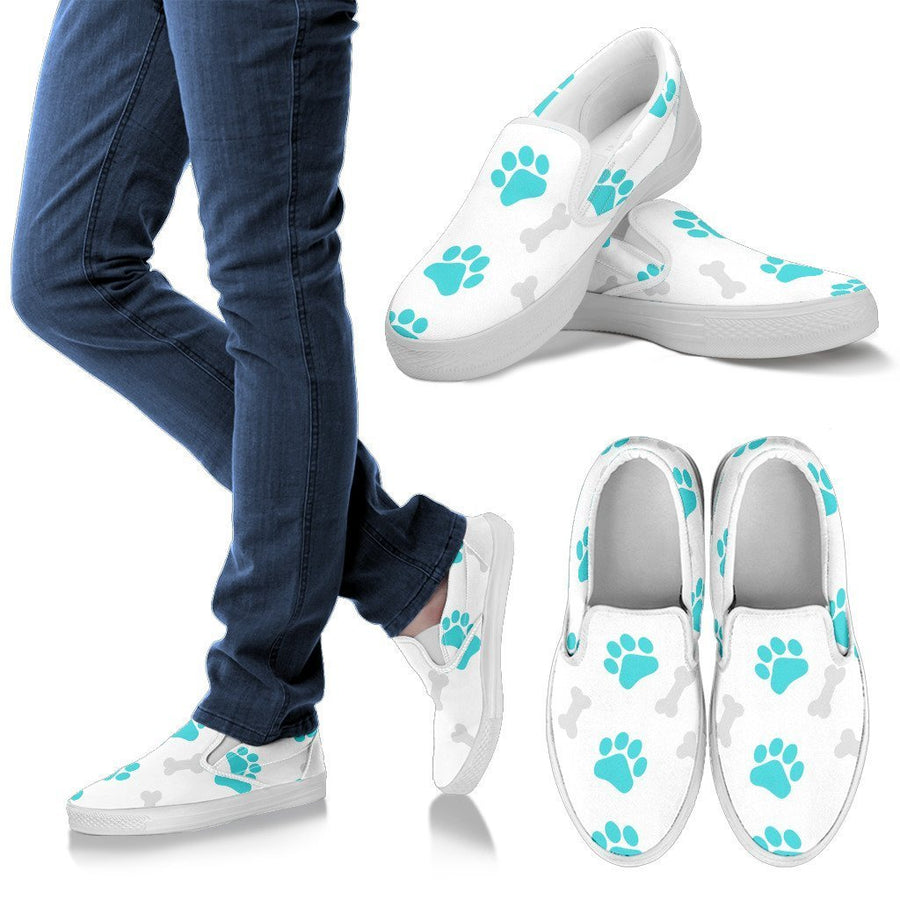 Paws and Bones White Women's Slip Ons