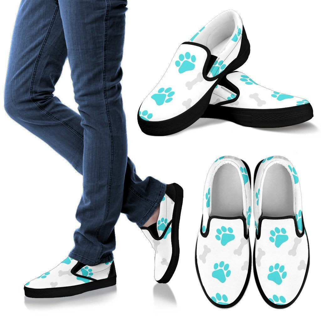 Paws and Bones White Women's Slip Ons-slip ons-I love Veterinary