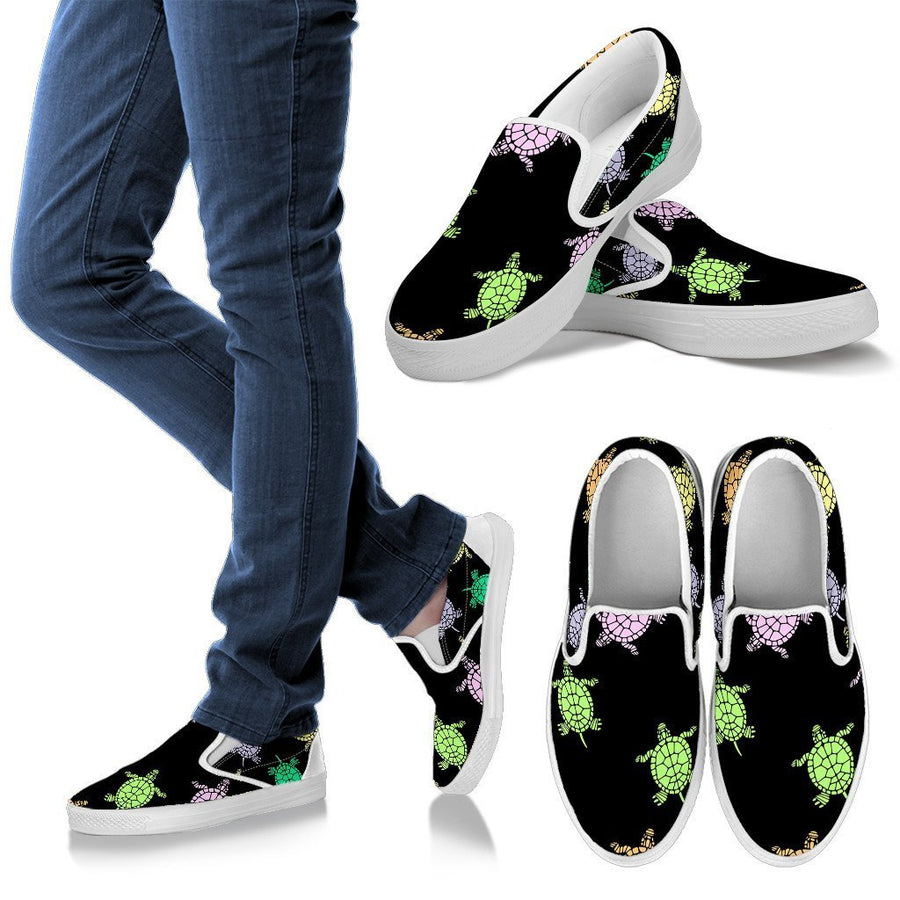 Sea Turtles Black Women's Slip Ons