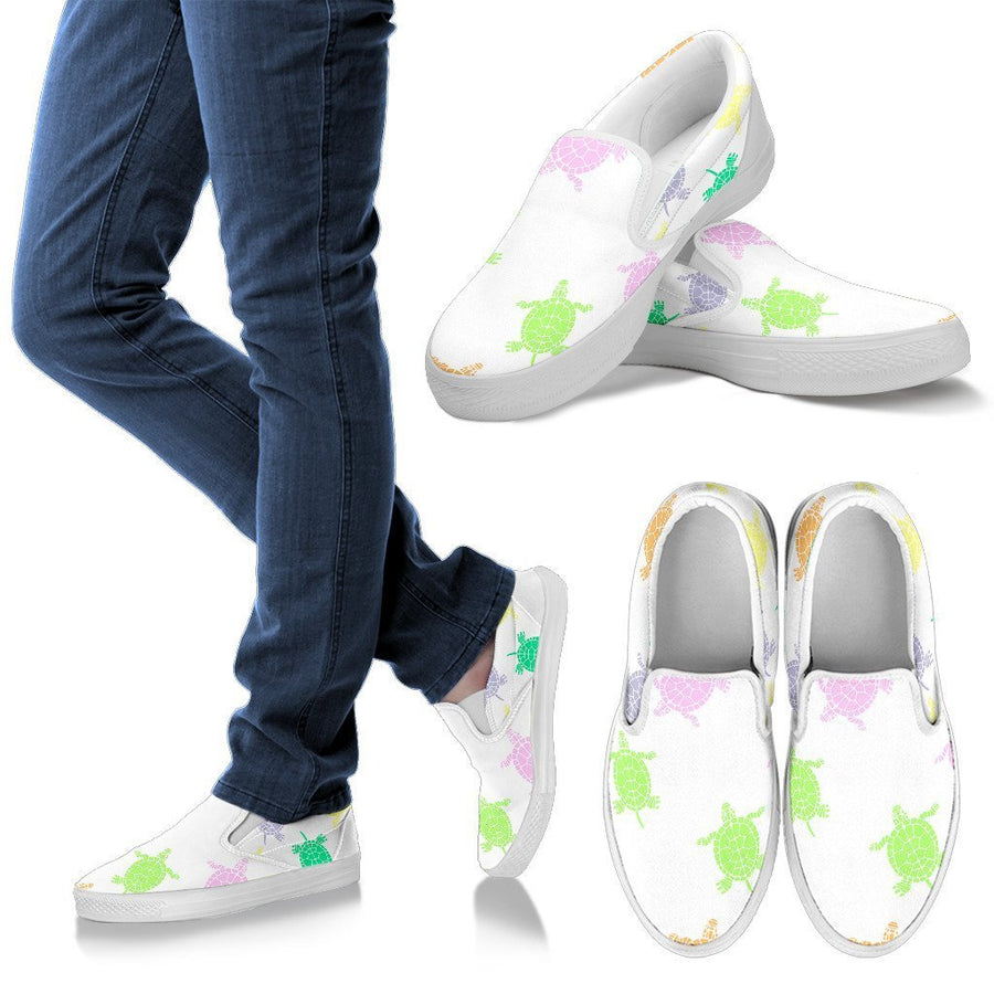 Sea Turtles White Women's Slip Ons