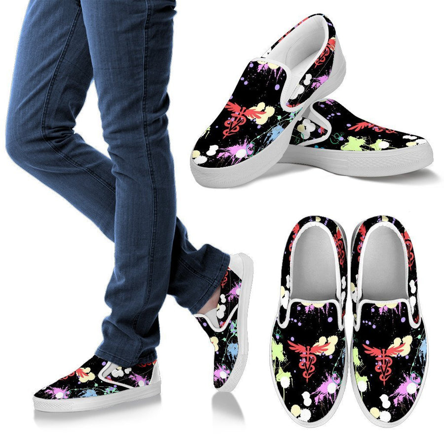 Veterinary Pattern Black Women's Slip Ons