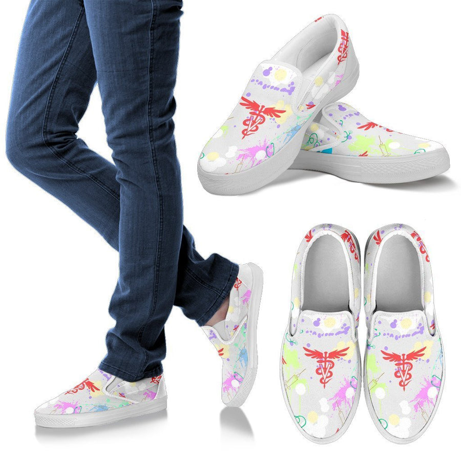 Veterinary Pattern White Women's Slip Ons-slip ons-I love Veterinary