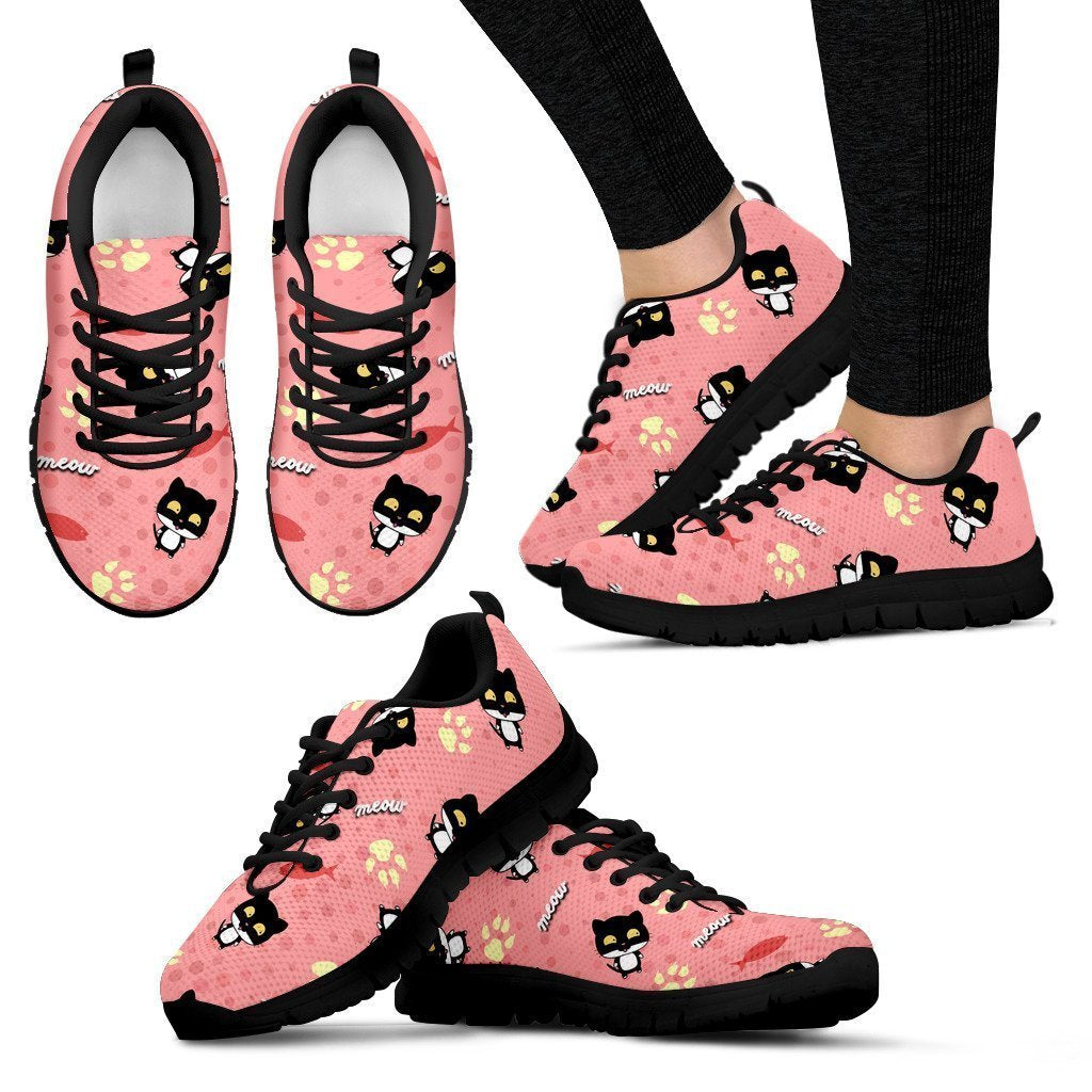 Black cat - Women's Sneakers-Sneakers-I love Veterinary
