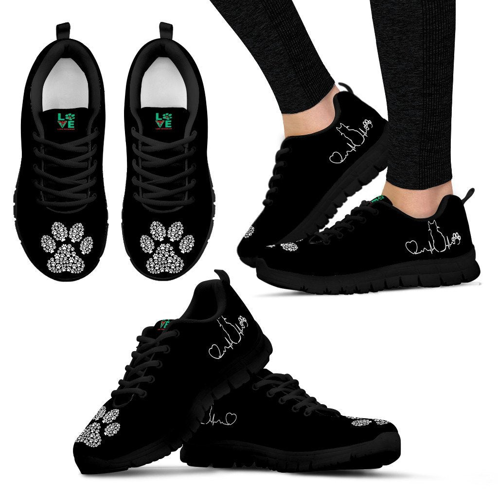 Cat Pulse with Paw Print - Women's Sneakers-Sneakers-I love Veterinary