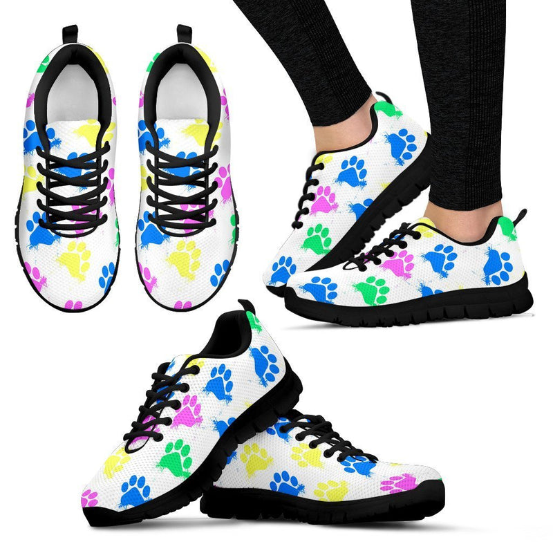 Colorful Pawprints White Women's Sneakers-Sneakers-I love Veterinary