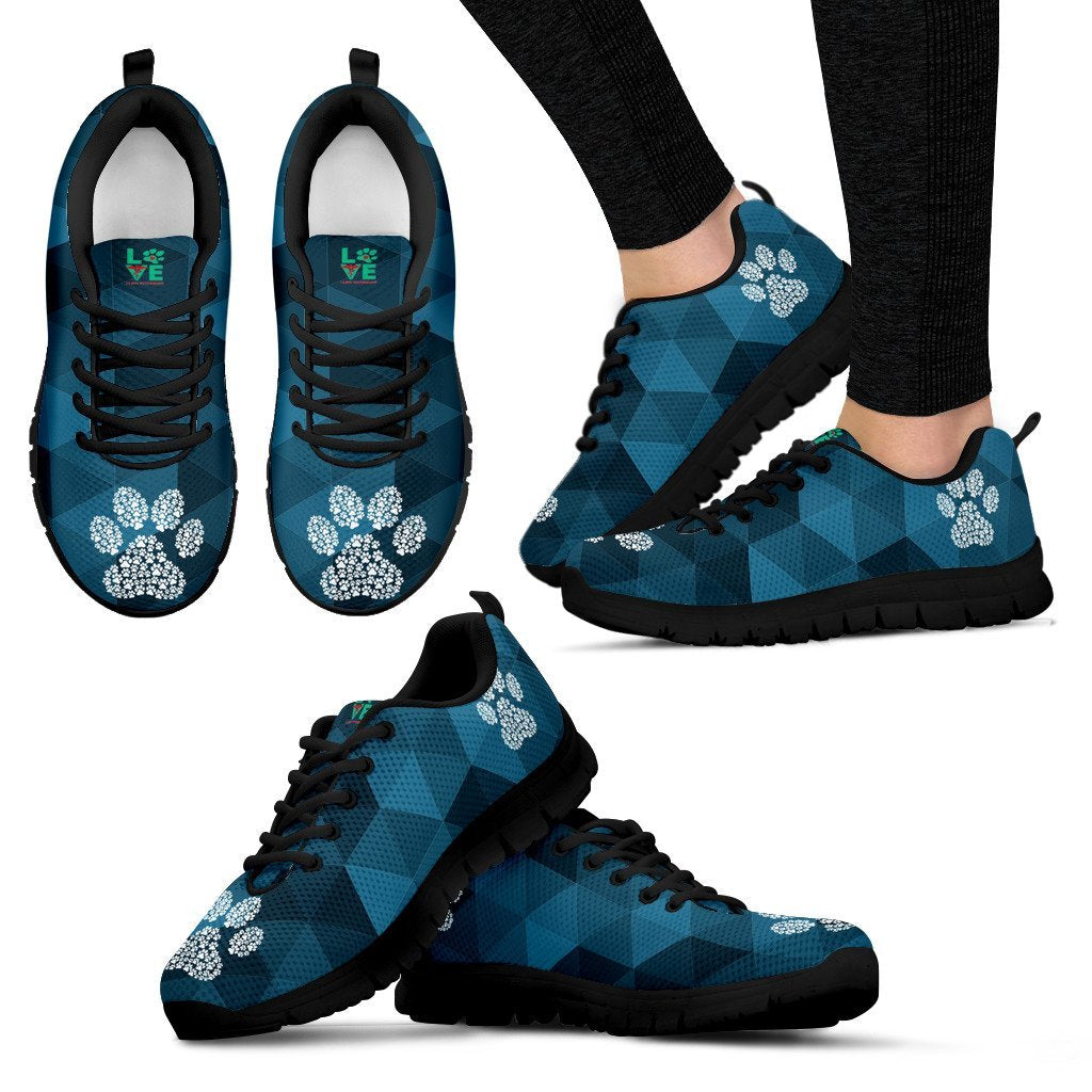 Geometric pattern with Paw Print - Women's Sneakers-Sneakers-I love Veterinary